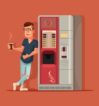 Personagem de homem bebendo café ao lado da máquina de café.