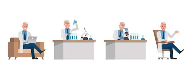 Personagem de homem cientista. apresentação em várias ações.