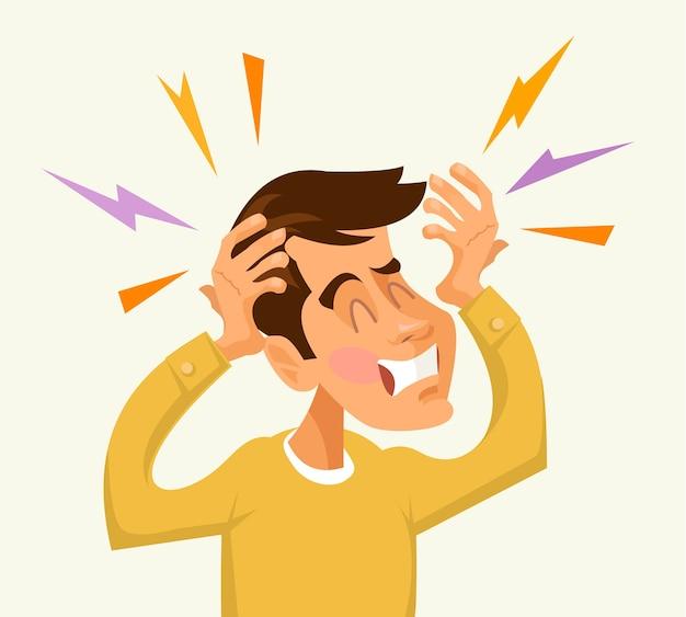 Personagem de homem com dor de cabeça isolado no branco
