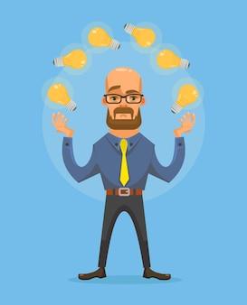 Personagem de homem com ilustração de desenho animado de ótima ideia