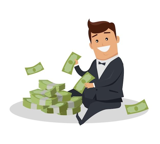 Personagem de homem com ilustração vetorial de dinheiro