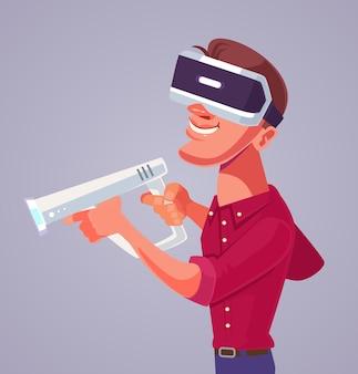 Personagem de homem com óculos de realidade virtual ilustração plana dos desenhos animados