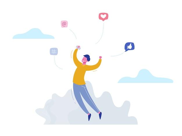 Personagem de homem de conceito conversando no telefone nas mídias sociais, bolhas de rede. design de ilustração para banner da web, material de marketing, apresentação de negócios, publicidade online