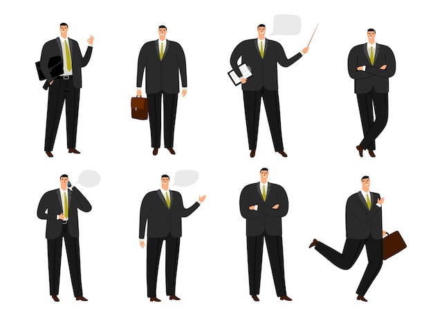 Personagem de homem de negócios. coleção de homem trabalhando escritório isolada no branco, homem de negócios dos desenhos animados situado em pé e pulando poses