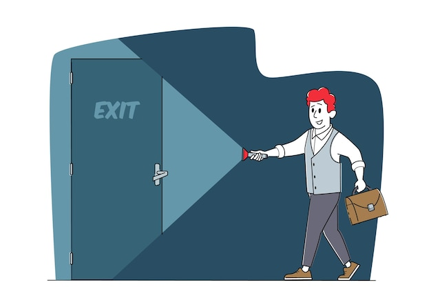 Personagem de homem de negócios em traje formal de iluminação com lanterna na porta de saída na escuridão, empresário nova oportunidade, fuga, desafio, sucesso, conceito de solução certa