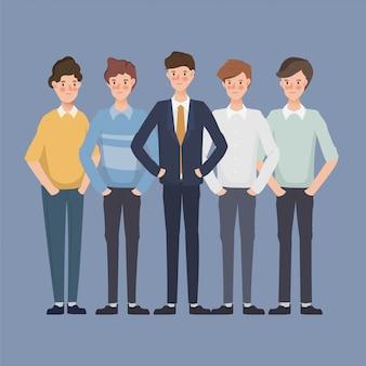 Personagem de homem de negócios no escritório. pessoas de negócios em grupo. design de personagens desenhados à mão.