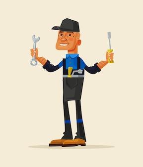 Personagem de homem de reparação sorridente feliz segurando a ferramenta de trabalho. ilustração plana dos desenhos animados