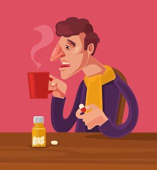 Personagem de homem doente toma remédio
