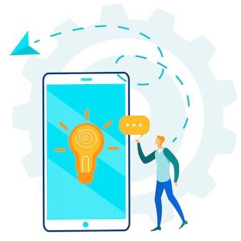 Personagem de homem e comunicação via ideia móvel