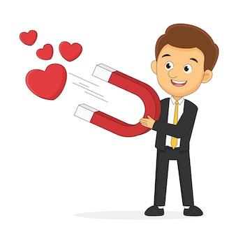 Personagem de homem e ímã com ilustração de corações
