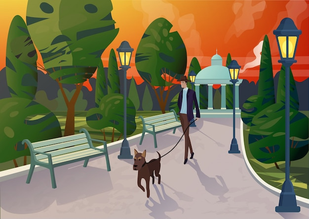 Personagem de homem elegante com cachorro na coleira, passeando na passarela no parque da cidade, na luz do sol.