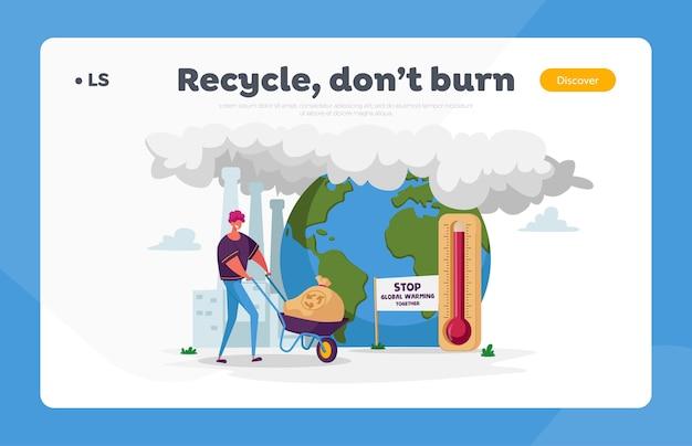 Personagem de homem empurrando carrinho de mão com saco de lixo e placa de reciclagem