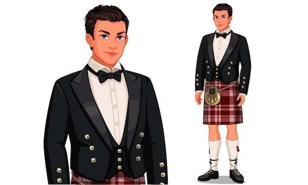 Personagem de homem escocês com roupa tradicional