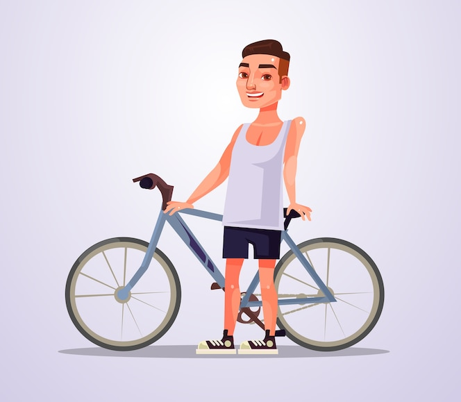 Personagem de homem feliz ciclista sorridente.