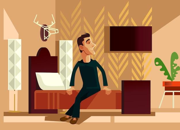 Personagem de homem feliz e sorridente acordando de manhã, ilustração plana dos desenhos animados