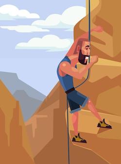 Personagem de homem feliz e sorridente escalando na rocha. esporte radical.