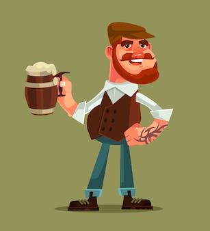 Personagem de homem feliz e sorridente segura caneca de cerveja.