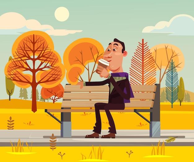 Personagem de homem feliz e sorridente sentado no banco e bebendo café