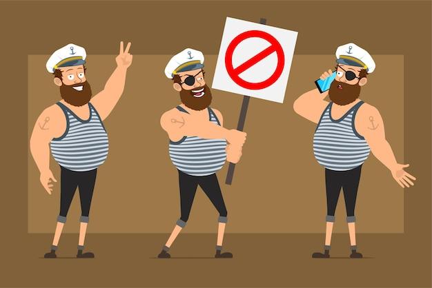 Personagem de homem gordo barbudo liso engraçado dos desenhos animados no chapéu de capitão com tatuagem. menino falando no telefone e segurando nenhuma placa de pare de entrada.