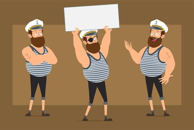 Personagem de homem gordo barbudo liso engraçado dos desenhos animados no chapéu de capitão com tatuagem. rapaz, posando e segurando uma placa de papel em branco vazio para o texto.