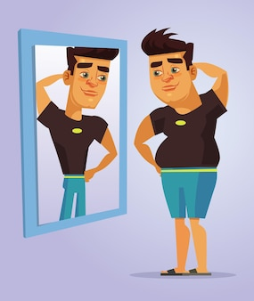 Personagem de homem gordo fingindo ser um homem forte no espelho