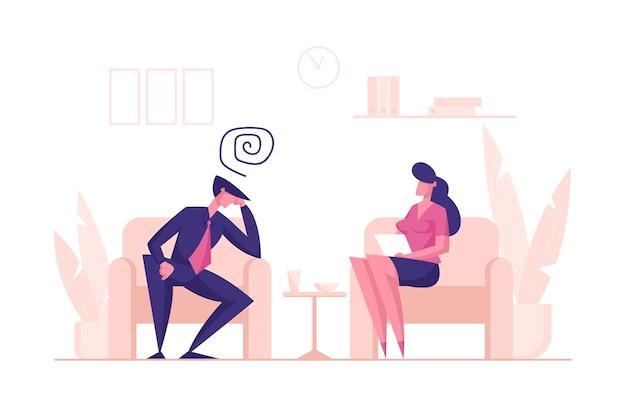 Personagem de homem infeliz sentado no sofá durante consulta de psicólogo para ajuda profissional