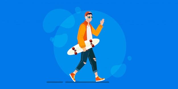 Personagem de homem legal hipster andando de longboard