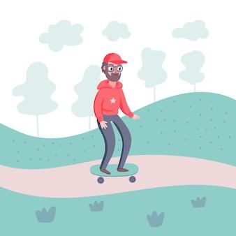 Personagem de homem legal hipster com barba e skate no parque com árvores.