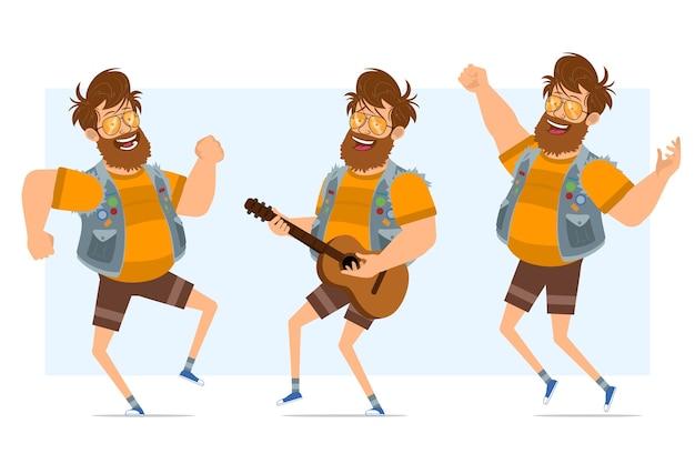 Personagem de homem liso engraçado barbudo gordo hippie em jaqueta jeans e óculos escuros. pronto para animação. menino tocando violão, dançando e pulando. isolado em fundo azul.