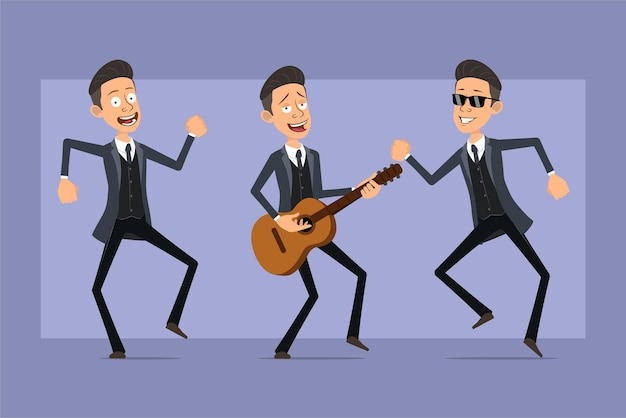 Personagem de homem liso engraçado da máfia dos desenhos animados de casaco preto e óculos de sol. menino pulando, dançando e tocando rock na guitarra. pronto para animação. isolado em fundo violeta. conjunto.