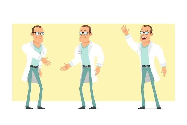 Personagem de homem liso engraçado médico forte dos desenhos animados de uniforme branco e óculos. menino apertando as mãos e mostrando um gesto de boas-vindas. pronto para animação. isolado em fundo amarelo. conjunto.