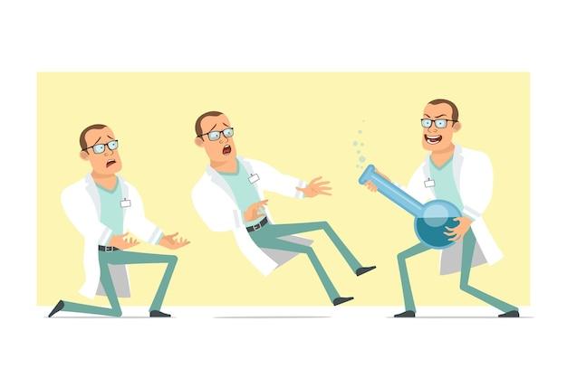 Personagem de homem liso engraçado médico forte dos desenhos animados de uniforme branco e óculos. menino caindo e segurando o frasco químico com o líquido. pronto para animação. isolado em fundo amarelo. conjunto.