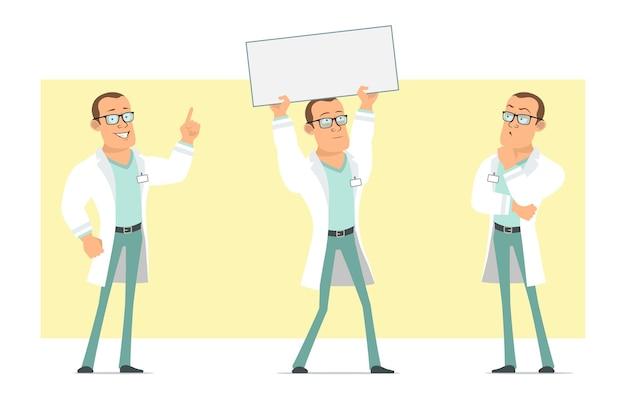 Personagem de homem liso engraçado médico forte dos desenhos animados de uniforme branco e óculos. menino pensando e segurando um cartaz de papel em branco para texto. pronto para animação. isolado em fundo amarelo. conjunto.