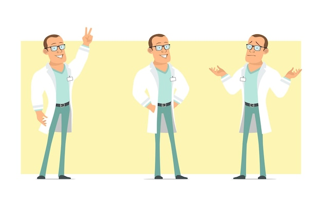 Personagem de homem liso engraçado médico forte dos desenhos animados de uniforme branco e óculos. rapaz, posando e mostrando um gesto de paz. pronto para animação. isolado em fundo amarelo. conjunto.