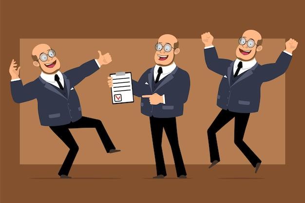 Personagem de homem liso engraçado professor careca dos desenhos animados de terno escuro e óculos. menino segurando a lista de tablets e mostrando os polegares para cima o sinal.