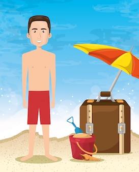 Personagem de homem na praia