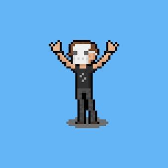 Personagem de homem pixel art metalhead.
