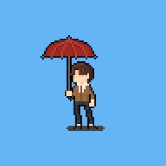 Personagem de homem pixel art segurando um guarda-chuva vermelho.