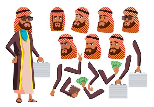 Personagem de homem velho. árabe. construtor de criação para animação. emoções de rosto, mãos.
