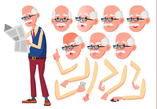Personagem de homem velho. europeu. construtor de criação para animação. emoções de rosto, mãos.