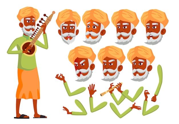 Personagem de homem velho. indiano. construtor de criação para animação. emoções de rosto, mãos.