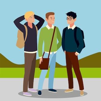 Personagem de homens estudantes com ilustração de sacolas ao ar livre