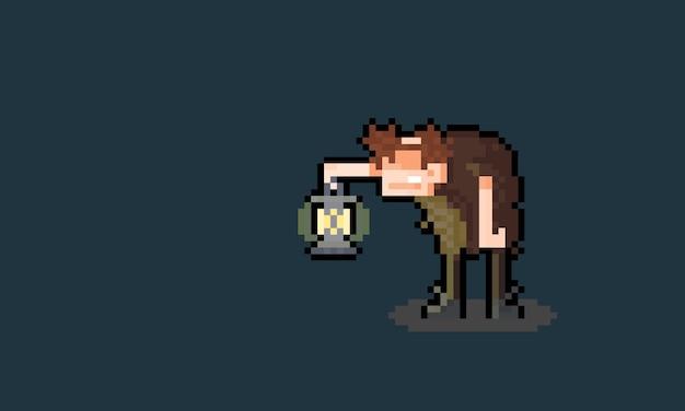 Personagem de igor de desenho animado de pixel art segurando uma lanterna.