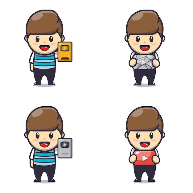 Personagem de ilustração da fofa recompensa do criador de conteúdo