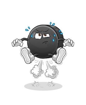 Personagem de ilustração de hóquei puck peido pulando