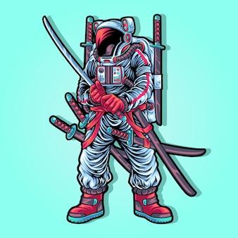 Personagem de ilustração de traje de astronauta samurai moderno