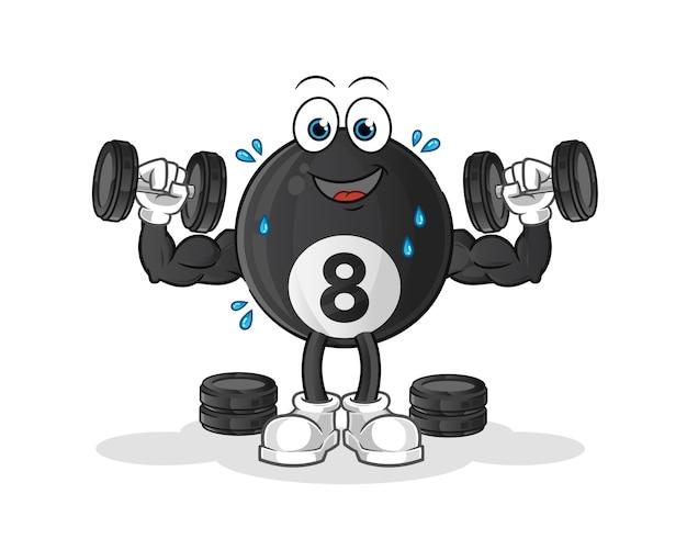 Personagem de ilustração de treinamento com peso de bola de bilhar