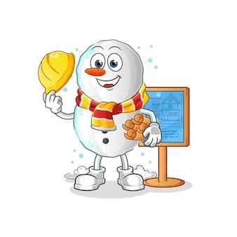 Personagem de ilustração do arquiteto do boneco de neve