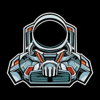 Personagem de ilustração do astronauta mecha robô