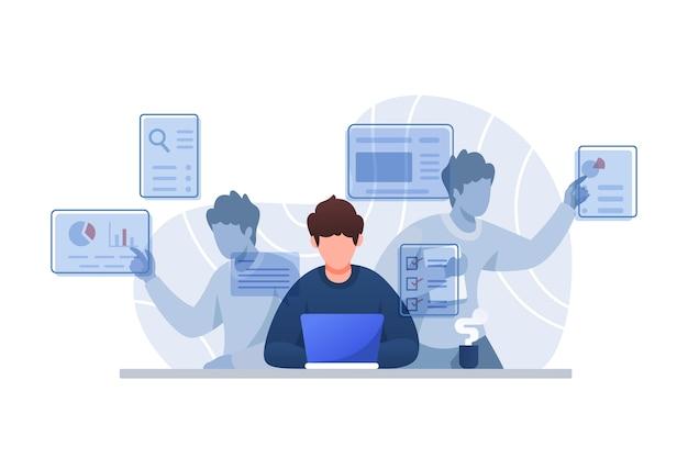 Personagem de ilustração do conceito de multitarefa